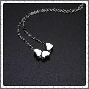 Heart silvertone stainless necklace adjustable